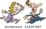 cartoon woman chasing man with...   Shutterstock .eps vector #616397687