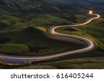 winding curvy rural road with...