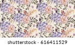 seamless watercolor floral... | Shutterstock . vector #616411529