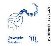 scorpio zodiac sign. stylized... | Shutterstock .eps vector #616412069