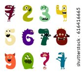 cartoon flat monsters number... | Shutterstock .eps vector #616416665