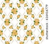 vector rose flowers seamless... | Shutterstock .eps vector #616416779