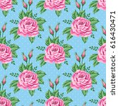 seamless pattern with roses and ... | Shutterstock .eps vector #616430471