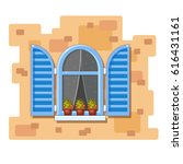 vector arch window with blue... | Shutterstock .eps vector #616431161