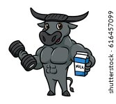 cartoon buffalo character... | Shutterstock .eps vector #616457099