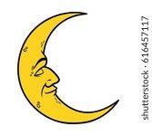 cartoon crescent moon with face ... | Shutterstock .eps vector #616457117