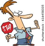 cartoon man with a stop sign | Shutterstock .eps vector #616458335