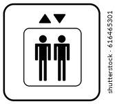 elevator sign white. vector. | Shutterstock .eps vector #616465301