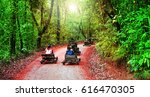 tourists drive wooden cars down ... | Shutterstock . vector #616470305