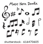 set of music note doodle  | Shutterstock .eps vector #616470605