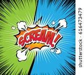 scream  comic speech bubble ... | Shutterstock .eps vector #616473479