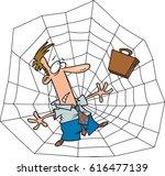 Cartoon Man Caught In A Web