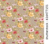 seamless floral pattern with... | Shutterstock .eps vector #616477151