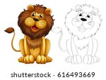 animal outline for wild lion... | Shutterstock .eps vector #616493669