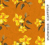 seamless floral pattern with... | Shutterstock .eps vector #616495919