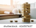 the blocks wood tower game with ... | Shutterstock . vector #616507637