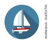 sailing yacht flat icon with... | Shutterstock .eps vector #616511741