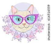cat with glasses   vector ... | Shutterstock .eps vector #616516559