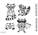 raccoons isolated. cute cartoon ... | Shutterstock .eps vector #616522331