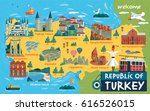 turkey travel map and turkish... | Shutterstock . vector #616526015