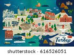 turkey travel map and turkish... | Shutterstock . vector #616526051