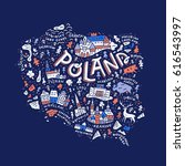 the map of the poland with the...   Shutterstock .eps vector #616543997