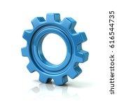 3d illustration of blue gear... | Shutterstock . vector #616544735