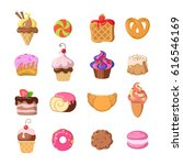 set of funny sweets in flat... | Shutterstock . vector #616546169