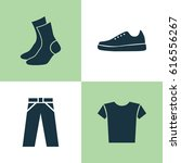 Clothes Tee Trouser Icons Set....