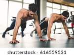 people working out and doing... | Shutterstock . vector #616559531