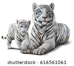 White Tigers Watercolor Painting