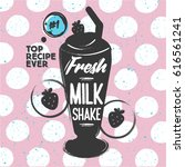 strawberry milk shake with... | Shutterstock .eps vector #616561241