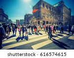 busy pedestrian crossing over... | Shutterstock . vector #616574615