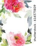 postcard with large peonies and ... | Shutterstock . vector #616575839