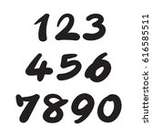 numbers 0 9 written with a... | Shutterstock .eps vector #616585511