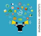 businessman hand hold megaphone ... | Shutterstock .eps vector #616587371