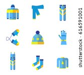 various types of winter clothes ... | Shutterstock . vector #616591001