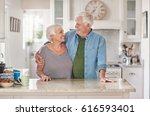 affectionate senior couple... | Shutterstock . vector #616593401