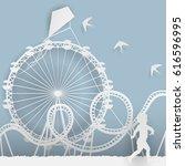 paper style art   an amusement... | Shutterstock .eps vector #616596995
