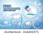 whitening toothpaste ads... | Shutterstock .eps vector #616602371