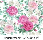 watercolor roses pattern | Shutterstock . vector #616604549