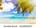 photo of a tropical beach on... | Shutterstock . vector #616606367