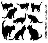 cat silhouette   vector ... | Shutterstock .eps vector #616609055