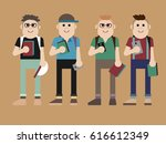 four smiling trendy young... | Shutterstock . vector #616612349