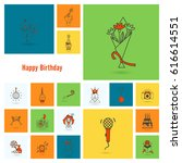 happy birthday icons set.... | Shutterstock .eps vector #616614551