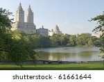 A Summer view of the Boat Pond in Central Park. - stock photo