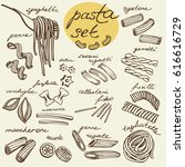 vector set of hand drawn pasta | Shutterstock .eps vector #616616729
