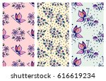 Stock vector vector set of seamless floral pattern with butterflies flowers leaves decorative elements hand 616619234