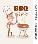vintage bbq party illustration. ... | Shutterstock .eps vector #616621199
