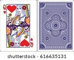 playing card  queen of heart   Shutterstock .eps vector #616635131